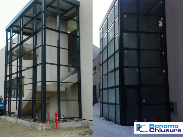 Facciata vetri capannone industriale acciaio provincia milano monza brianza